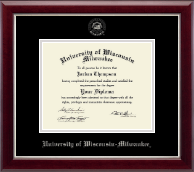 University of Wisconsin-Milwaukee Diploma Frame - Silver Embossed Diploma Frame in Gallery Silver