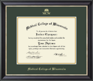 Medical College of Wisconsin Diploma Frame - Gold Embossed Diploma Frame in Noir