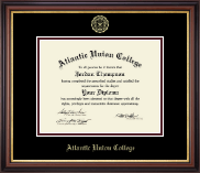 Atlantic Union College Diploma Frame - Gold Embossed Diploma Frame in Regency Gold