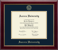 Aurora University Diploma Frame - Gold Embossed Diploma Frame in Gallery