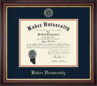 Baker University Diploma Frame - Gold Embossed Diploma Frame in Regency Gold