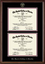 Baptist College of Florida Diploma Frame - Double Diploma Frame in Williamsburg