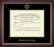 Bowdoin College Diploma Frame - Gold Embossed Diploma Frame in Regency Gold