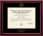 Bryn Mawr College Diploma Frame - Gold Embossed Diploma Frame in Gallery