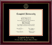 Campbell University Diploma Frame - Gold Embossed Diploma Frame in Gallery