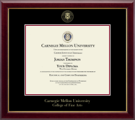 Carnegie Mellon University Diploma Frame - Gold Embossed Diploma Frame in Gallery