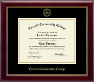 Carroll Community College Diploma Frame - Gold Embossed Diploma Frame in Gallery