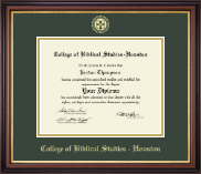College of Biblical Studies - Houston Diploma Frame - Gold Embossed Diploma Frame in Regency Gold