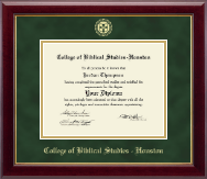 College of Biblical Studies - Houston Diploma Frame - Gold Embossed Diploma Frame in Gallery