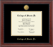 College of Santa Fe Diploma Frame - 23K Medallion Diploma Frame in Signature