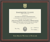 Dartmouth College Diploma Frame - Gold Embossed Diploma Frame in Regency