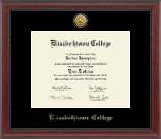 Elizabethtown College Diploma Frame - Gold Engraved Medallion Diploma Frame in Signature