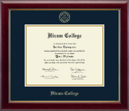 Hiram College Diploma Frame - Gold Embossed Diploma Frame in Gallery