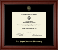 Johns Hopkins University Certificate Frame - Gold Embossed Certificate Frame in Cambridge