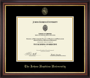 Johns Hopkins University Certificate Frame - Gold Embossed Certificate Frame in Regency Gold
