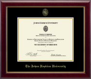 Johns Hopkins University Certificate Frame - Gold Embossed Certificate Frame in Gallery