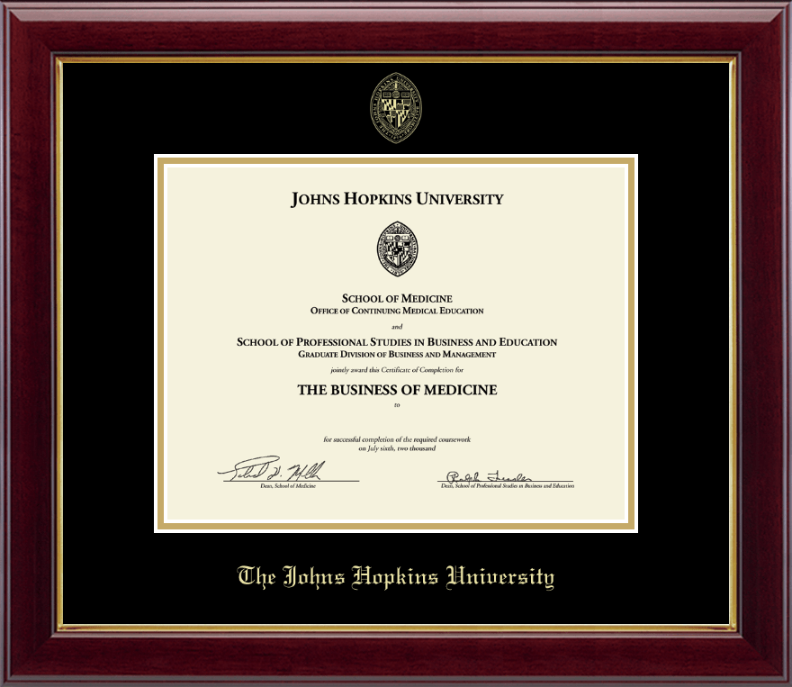 Johns Hopkins University Gold Embossed Certificate Frame in Gallery ...