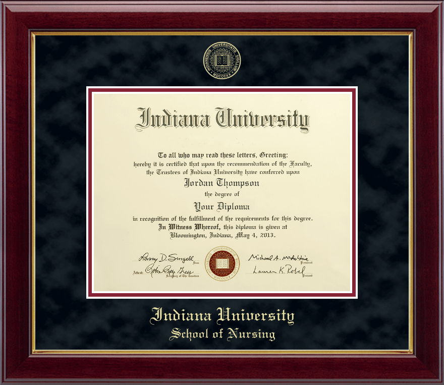 Indiana University Bloomington Gold Embossed Diploma Frame