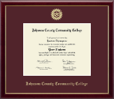 Johnson County Community College Diploma Frame - Gold Embossed Diploma Frame in Galleria