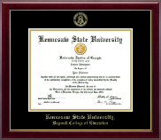 Kennesaw State University Diploma Frame - Gold Embossed Diploma Frame in Gallery