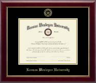 Kansas Wesleyan University Diploma Frame - Gold Embossed Diploma Frame in Gallery