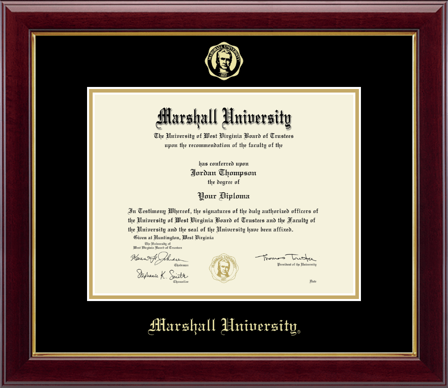 marshall university gold embossed diploma frame in gallery