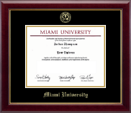 Miami University Diploma Frame - Gold Embossed Diploma Frame in Gallery