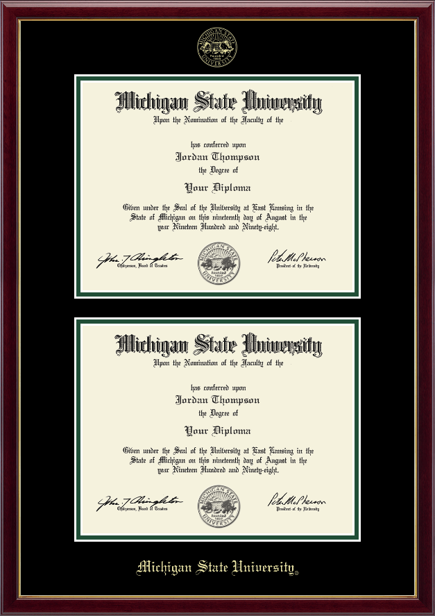 Michigan State University Double Diploma Frame in Galleria - Item ...