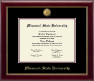 Missouri State University Diploma Frame - 23K Medallion Diploma Frame in Gallery