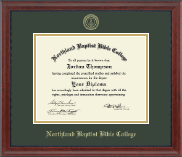 Northland Baptist Bible College Diploma Frame - Gold Embossed Diploma Frame in Signature