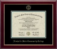 Nashville State Community College Diploma Frame - Gold Embossed Diploma Frame in Gallery