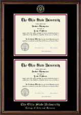 The Ohio State University Diploma Frame - Gold Embossed Double Diploma Frame in Williamsburg