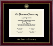 Old Dominion University Diploma Frame - Gold Embossed Diploma Frame in Gallery