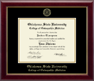 Oklahoma State University College of Osteopathic Medicine Diploma Frame - Gold Embossed Diploma Frame in Gallery