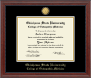 Oklahoma State University College of Osteopathic Medicine Diploma Frame - 23K Medallion Diploma Frame in Signature