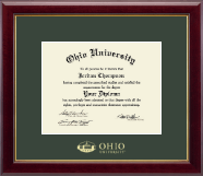 Ohio University Chillicothe Diploma Frame - Gold Embossed Edition Frame in Gallery