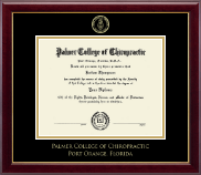 Palmer College of Chiropractic Florida Diploma Frame - Gold Embossed Diploma Frame in Gallery