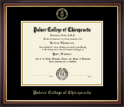 Palmer College of Chiropractic Iowa Diploma Frame - Gold Embossed Diploma Frame in Regency Gold