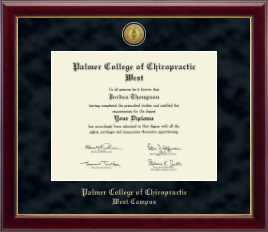 Palmer College of Chiropractic West Campus Diploma Frame - Gold Engraved Medallion Diploma Frame in Gallery
