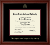 Pennsylvania College of Optometry Diploma Frame - Gold Embossed Diploma Frame in Cambridge