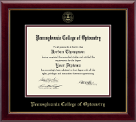 Pennsylvania College of Optometry Diploma Frame - Gold Embossed Diploma Frame in Gallery