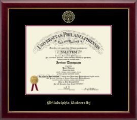 Philadelphia University Diploma Frame - Gold Embossed Diploma Frame in Gallery