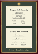 Slippery Rock University Diploma Frame - 23K Medallion Double Diploma Frame in Galleria