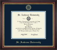 Saint Ambrose University Diploma Frame - Gold Embossed Diploma Frame in Regency Gold