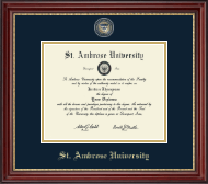 Saint Ambrose University Diploma Frame - Masterpiece Medallion Diploma Frame in Kensington Gold