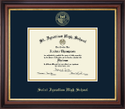 Saint Ignatius High School Diploma Frame - Gold Embossed Diploma Frame in Regency Gold