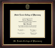 Saint Louis College of Pharmacy Diploma Frame - Gold Embossed Diploma Frame in Regency Gold