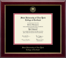 State University of New York Cortland Diploma Frame - Gold Embossed Diploma Frame in Gallery