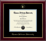 Thomas Jefferson University Diploma Frame - Gold Embossed Seal Diploma Frame in Gallery