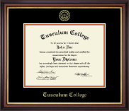 Tusculum College Diploma Frame - Gold Embossed Diploma Frame in Regency Gold